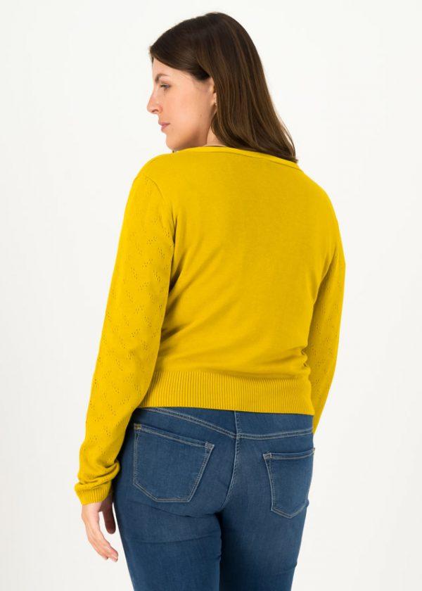 Blutsgeschwister Cardigan, pretty petite, gelb, senf, mustard, v-ausschnitt, jäckchen