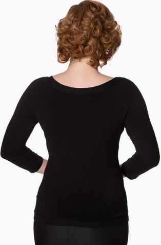 pretty illusion top, Banned, mustard, 50s, pullover, schwarz, dreiviertelarm