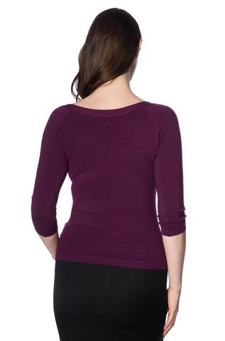pretty illusion top, Banned, mustard, 50s, pullover, pflaume, purple, violett, dreiviertelarm