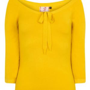 pretty illusion top, Banned, mustard, 50s, pullover, senfgelb, dreiviertelarm