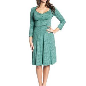 lindgrünes Kleid mit schwarzen Punkten und 3/4 Ärmeln, Herzauschnitt und schwarze Teilungsnähte, knieumspielend