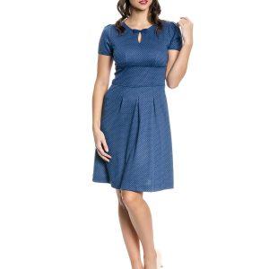 navyblaues Kurzarmkleid mit weißen Pukten, tropfenförmiger Ausschnitt mit einer Schleife verziert, unter der Brust abgenäht, der Rockteil ist in breite Falten gelegt