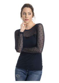 dunkelblaues Shirt mit transparentem Ausschnitt und Ärmeln mit Punkten