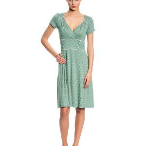 hellgrünes Kleid mit weißen Punkten, V-Ausschnitt, kurze Ärmel und weiße Teilungsnähte, knieumspielend